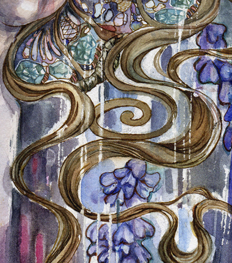 Wisteria painting, closeup on hair and detailing